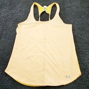 Under Armour Raceback Tank Top Yellow Grey Small